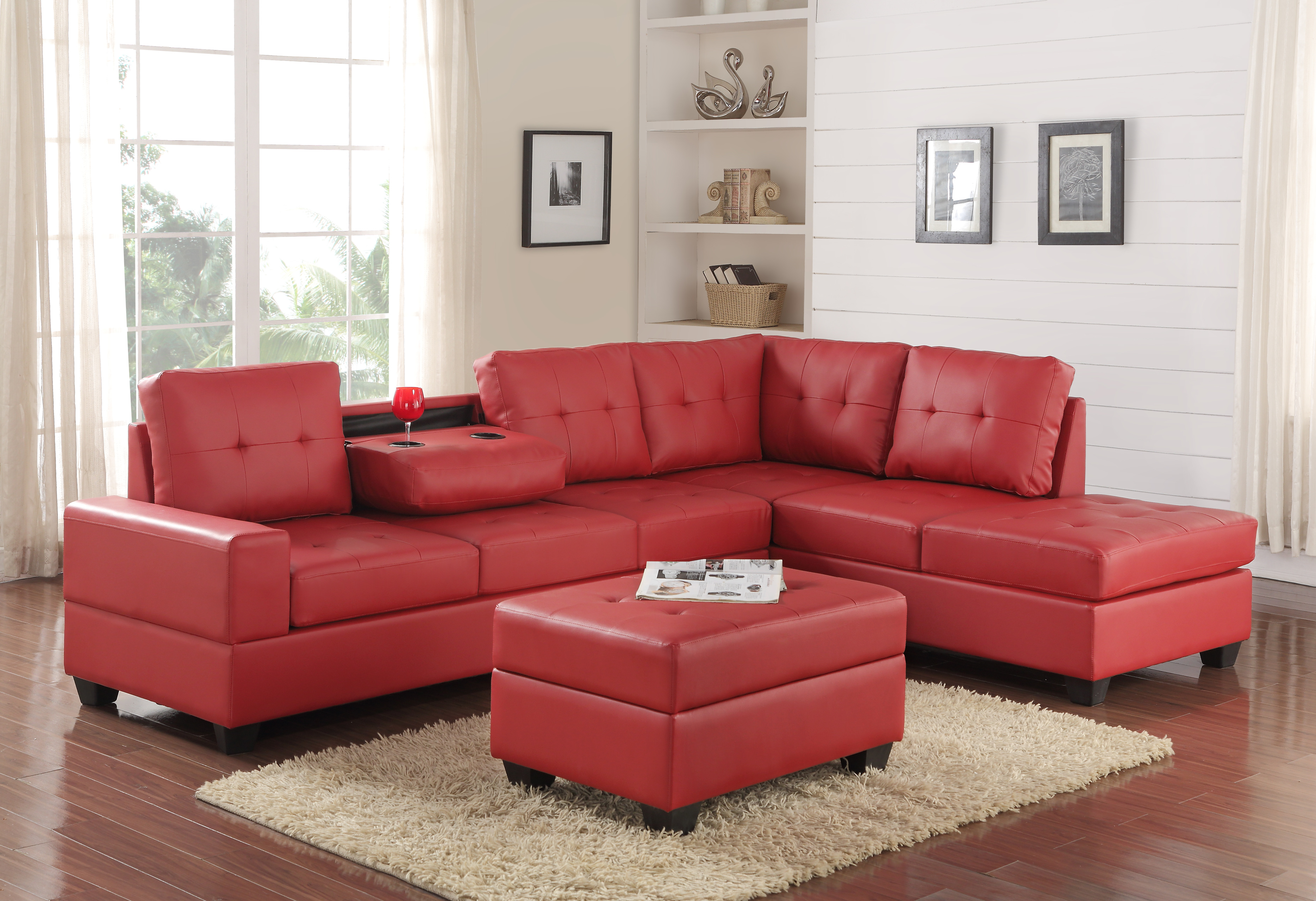 HEIGHTS SECTIONAL OTTOMAN SET Red
