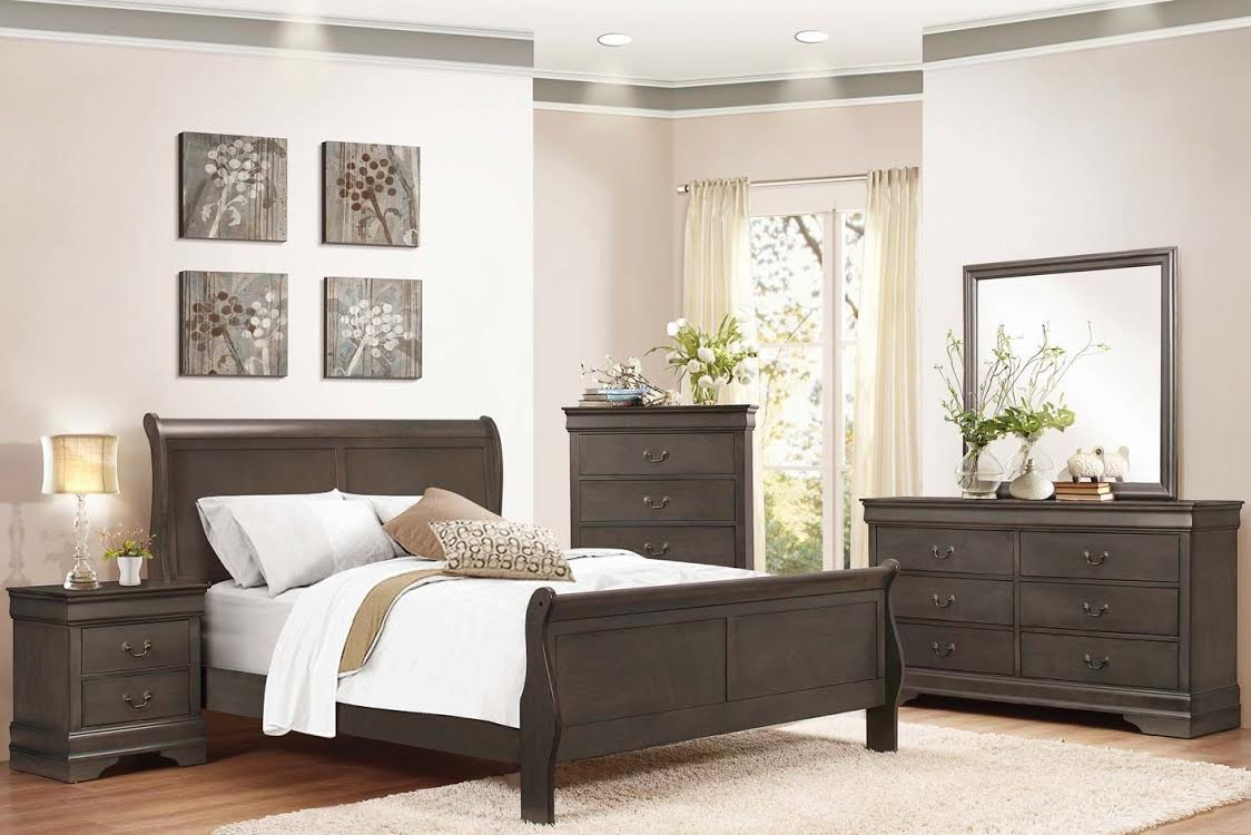 3900 Black Sleigh Bedroom Set